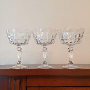 Vintage set of 3 etched glass pedistol desert cups